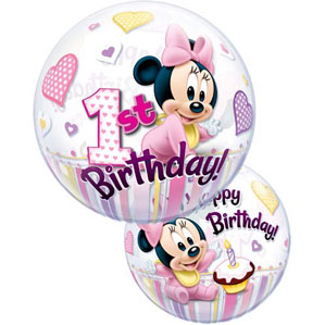 Minnie Mouse First Birthday Bubble Balloon