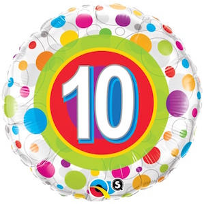 Colourful Dots Tenth Birthday Balloon