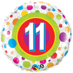 Colourful Dots Eleventh Birthday Balloon