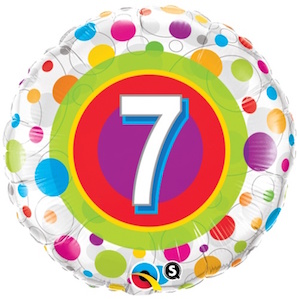 Colourful Dots Seventh Birthday Balloon