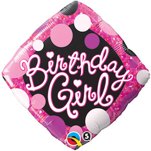 Birthday Girl Pink and Black Square Foil Balloon