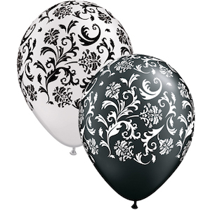Latex Black and White Damask Balloon