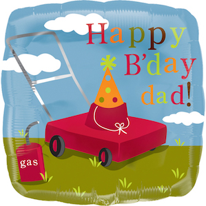 Lawn Mower Happy B'day Dad Square Foil Balloon