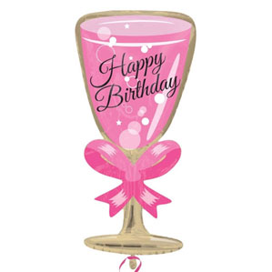 Pink Happy Birthday Glass Shaped Foil Balloon