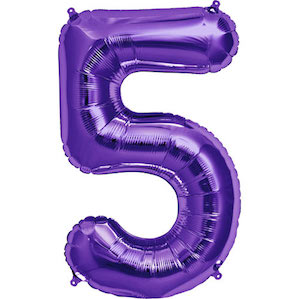 Purple Number 5 Balloon