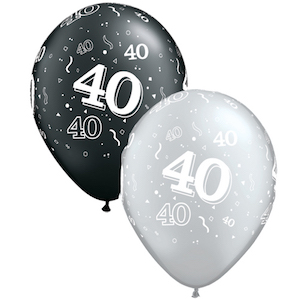 Latex Black and Silver 40th Balloons