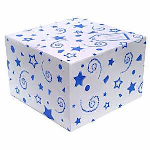 Balloon Box with Blue Printed Stars and Swirls