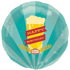 Beer Glass Happy Birthday Large Round Foil Balloon