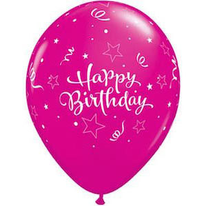 Happy Birthday Magenta Balloon