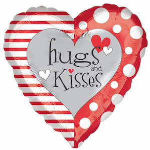 Large Valentines Hugs and Kisses Heart Foil Balloon