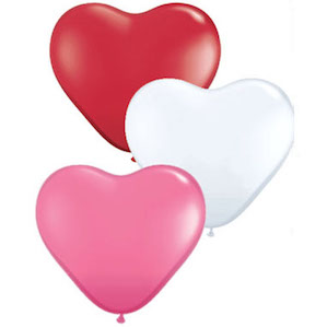 Three Large Valentines Love Heart Foil Balloons