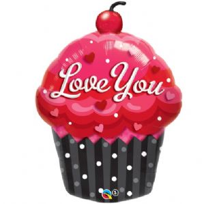 Large Foil Love You Cupcake Happy Birthday Balloon