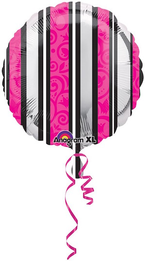 Pink and black Striped Foil Balloon