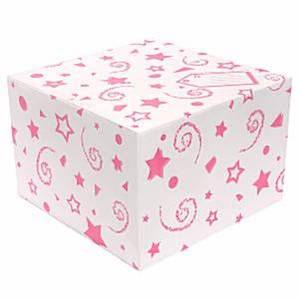 Balloon Box with Pink Printed Stars and Swirls