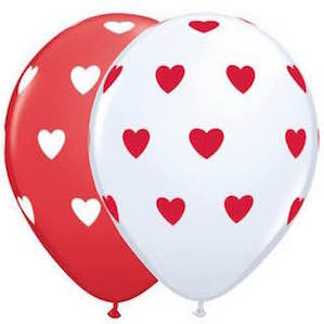 Red and White Printed Heart Balloons