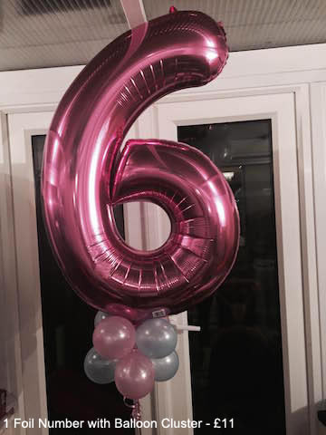 1 Foil Number with Balloon Cluster - £11.00