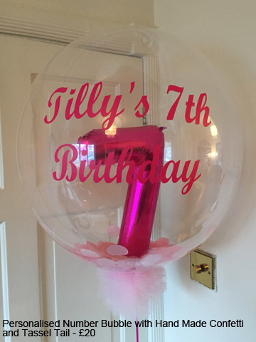 Personalised Number Bubble with Hand Made Confetti and Tassel Tail - £20