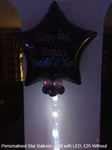 Personalised Star Balloon - £30 each, - £25 without