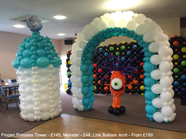 Frozen Princess Tower - £95, Monster - £48, Link Balloon Arch - From £150