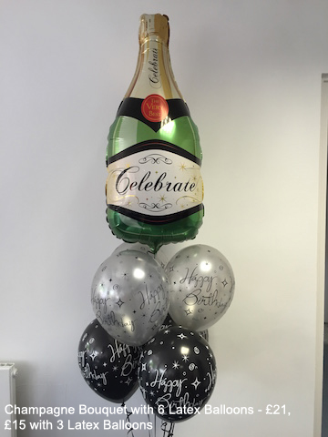 Champagne Bouquet with 6 latex balloons - £21, £15 with 3 Latex Balloons