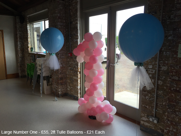 large Number one - £55, Tulle balloons - £21