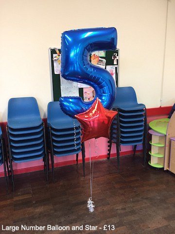 Large Number Balloon and Star - £13