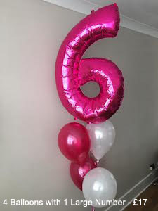 4 Balloons with 1 Large Number - £17