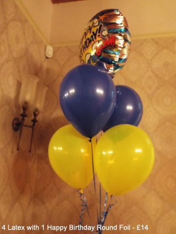 5 Balloon Bouquet with 1 Happy Birthday Foil - £14