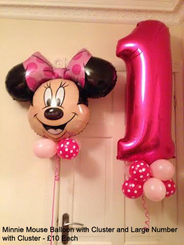 Minnie Mouse balloon with cluster and large Number with Cliuster £10 Each