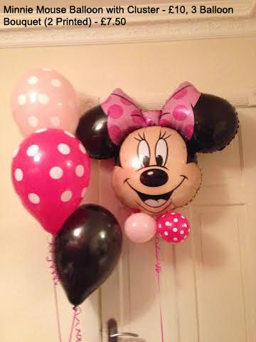 Minnie Mouse balloon with cluster £10, 3 Balloon Bouquet - £7.50