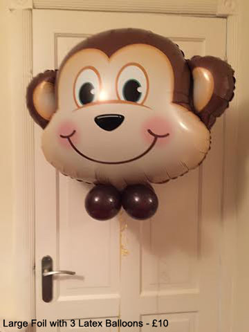 Monkey Large Foil with 3 Latex balloons - £10