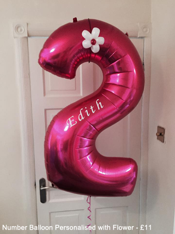 Number Balloon personalised with flower - £11