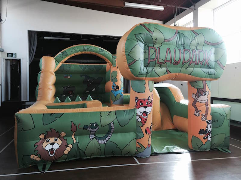 Inflatable Playground with Ball Pit, Bouncy Castle and Slide 15 x 17. Introductory Price £130.