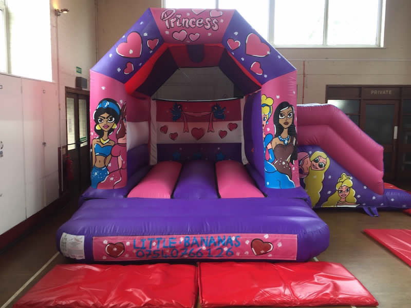 Princess Bouncy Castle with Slide 17 x 15. Add on for £75 or rent separately for £85 per day.