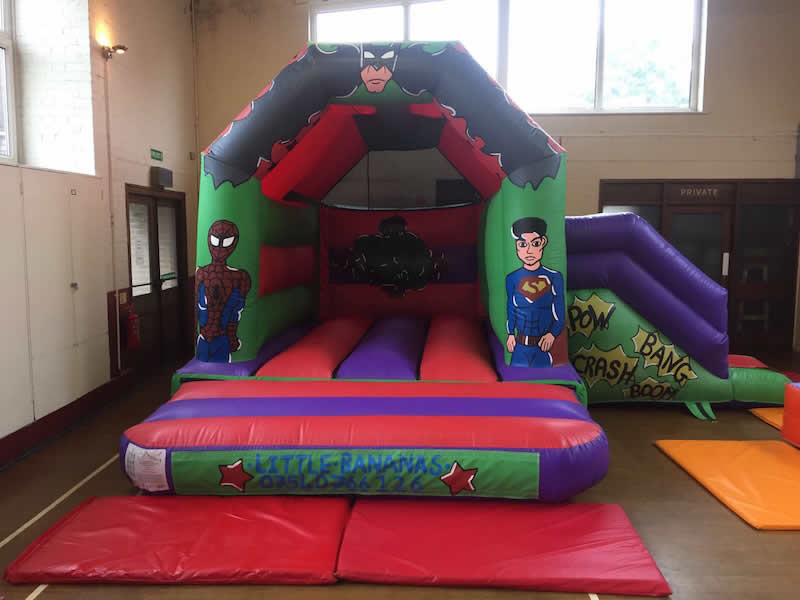 Super Hero Bouncy Castle with Slide 17 x 15. Add on for £75 or rent separately for £85 per day.